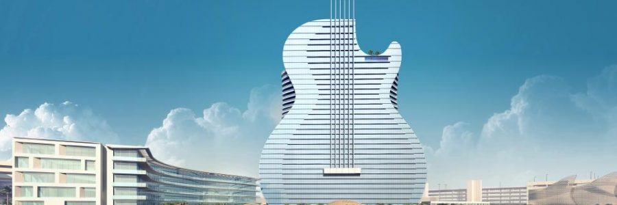 Hard Rock Opening Hotel Shaped Like Guitar In Hollywood