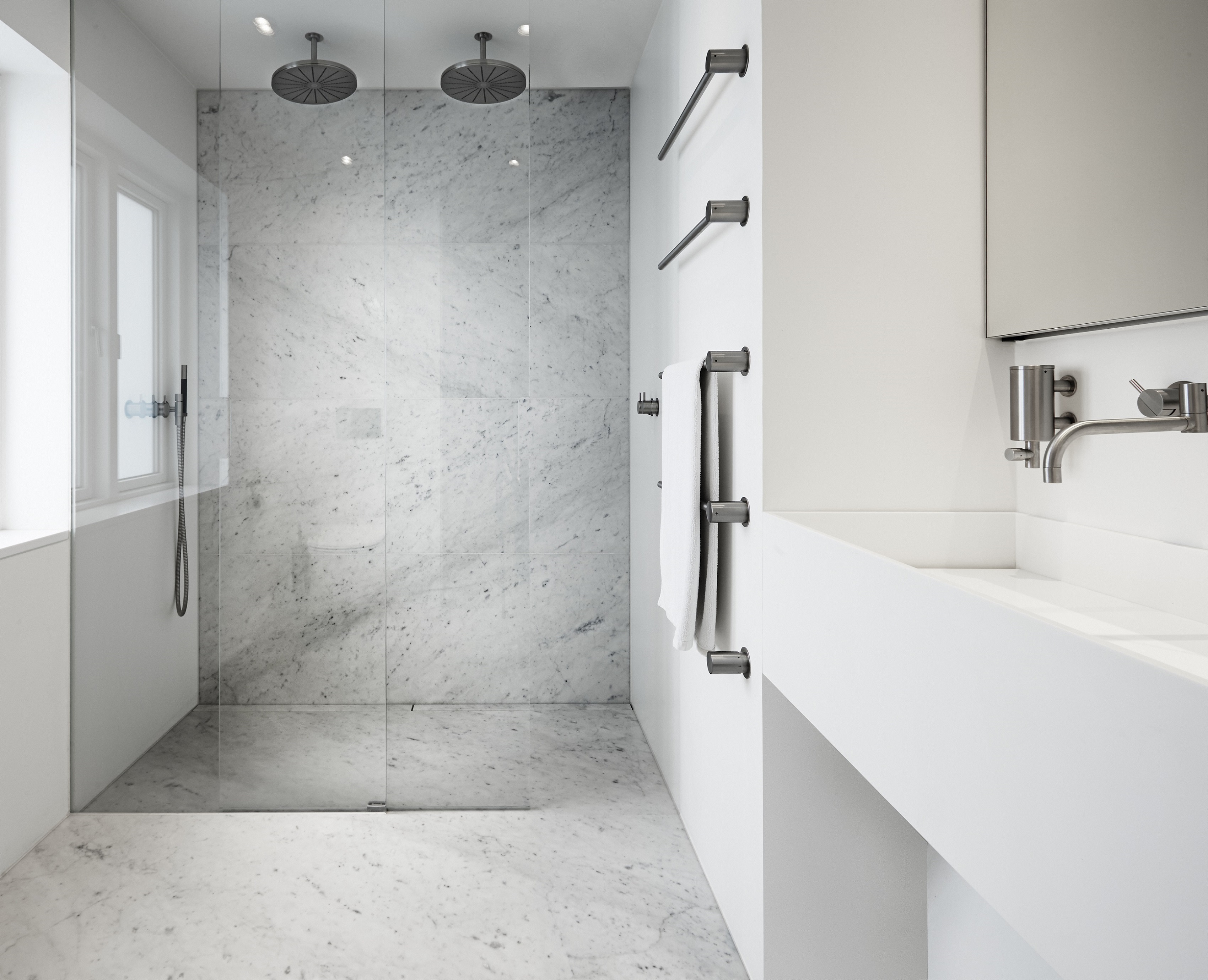 Shower Cubicle In White Marble With Highline Custom Space International Hotel Design